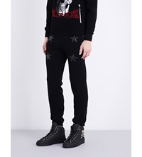 Philipp Plein Star Appliqua Relaxed Fit Knitted Jogging Bottoms Black
