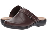 Clarks Leisa Sadie Dark Brown Leather Clog Shoes