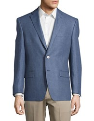 Lauren Ralph Lauren Linen Glen Plaid Blazer Blue