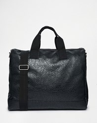 Asos Holdall In Textured Faux Leather Black