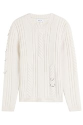 Thierry Mugler Mugler Wool Cashmere Cable Knit Pullover With Piercing White