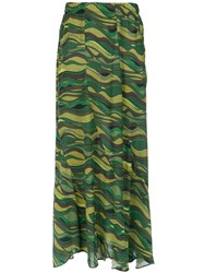Amir Slama Long Printed Skirt Viscose Green
