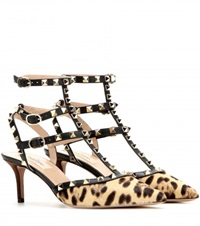 Valentino Rockstud Calf Hair Kitten Heel Pumps Brown