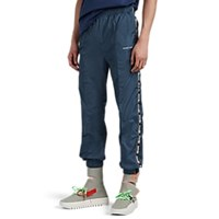 Off White C O Virgil Abloh Logo Tape Tech Faille Jogger Pants Dk. Green