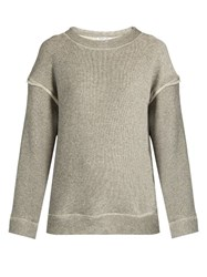 Helmut Lang Oversized Cotton Jersey Sweatshirt Grey