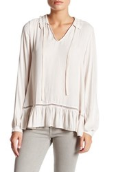Ro And De Long Sleeve Ruffle Neck Blouse Pink