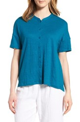 Eileen Fisher Women's Mandarin Collar Organic Linen Knit Shirt Jewel