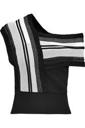 Roland Mouret Latrillia Paneled Wool And Open Knit Top Black