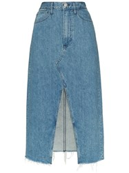 3X1 Elizabella Front Slit Denim Skirt Blue