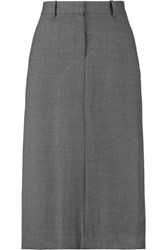 Theory Ildiko Stretch Wool Blend Midi Skirt Gray