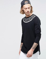 Asos Longline Long Sleeve T Shirt With Aztec Yoke Print And Curve Hem Black