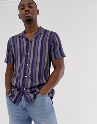 Selected Homme Short Sleeve Striped Revere Collar Shirt In Navy