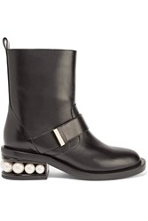 Nicholas Kirkwood Casati Embellished Leather Biker Boots Black