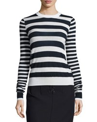 Joseph Striped Cashmere Long Sleeve Top Navy