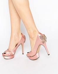 Little Mistress Peeptoe Platform Heeled Shoes Pink