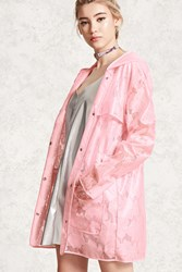 Forever 21 Clear Vinyl Lace Raincoat Pink