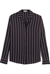 Frame Denim Le Classic Striped Washed Silk Charmeuse Shirt