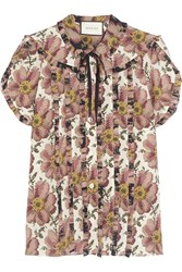 Gucci Pussy Bow Ruffled Floral Print Silk Shirt Antique Rose