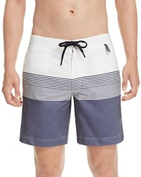 Z Zegna Stripe Color Block Swim Trunks White Blue
