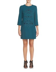 Cynthia Steffe Anya Three Quarter Sleeve Embroidered Shift Dress Agave
