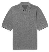 Issey Miyake Men Slim Fit Knitted Polo Shirt Charcoal