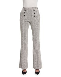 Carven Tweed High Rise Flare Fantasy Pants Marine And Ecru