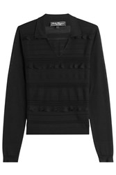 Salvatore Ferragamo Ruffled Wool Silk Knit Top Black