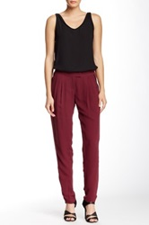 L.A.M.B. Solid Silk Pant Red