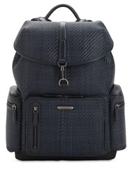 Ermenegildo Zegna Woven Leather Backpack Blue