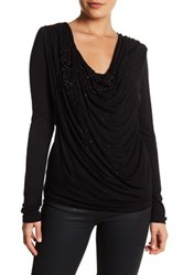 Religion Embellished Cowl Shirt Black
