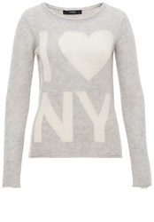 Hallhuber Cashmere Jumper With I Love Ny Slogan Light Grey