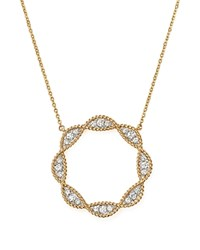 Bloomingdale's Diamond Beaded Open Circle Pendant Necklace In 14K Yellow Gold .50 Ct. T.W. 100 Exclusive White Yellow