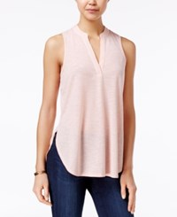Almost Famous Juniors' Cutout Back Lace Trim Top Blush