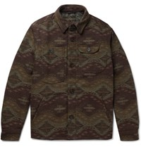 Freemans Sporting Club Patterned Wool Blend Primaloft Shirt Jacket Brown