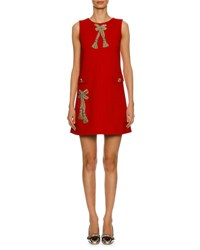 Dolce And Gabbana Sleeveless Bow Embellished Sheath Dress Red Gold Red Gold
