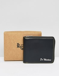 Dr. Martens Dr Leather Zip Around Wallet With Yellow Stitching Black