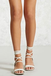 Forever 21 Faux Leather Lace Up Heels