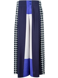 Issey Miyake Wide Leg Colour Block Trousers Blue