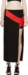 Versace Black And Red Silk Cross Band Skirt