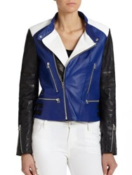 Each X Other Colorblock Leather Moto Jacket Blue Black