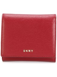 Dkny Billfold Wallet Leather Red