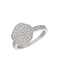 Morris And David Diamond 14K White Gold Medallion Ring 0.51 Tcw