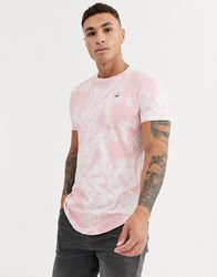 Hollister Icon Logo Curved Hem Washed Out T Shirt In Pink Wash