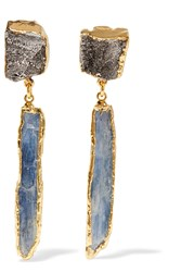 Dara Ettinger Gold Tone Amethyst And Kyanite Earrings Blue