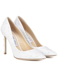 Jimmy Choo Romy 100 Embellished Pumps White