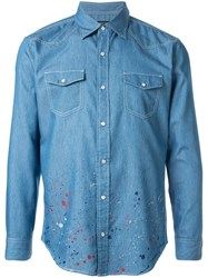 Loveless Paint Splatter Denim Shirt Blue