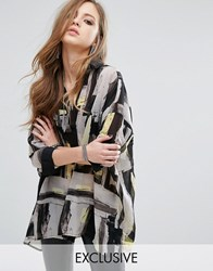 Religion Sheer Shirt Dress In Abstract Print White