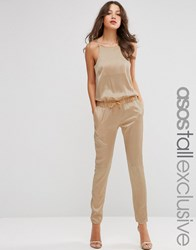 Asos Tall Luxe Satin Jumpsuit With Peg Leg Champagne Cream