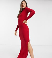 Urban Bliss High Neck Fitted Maxi Dress With Side Splits Red