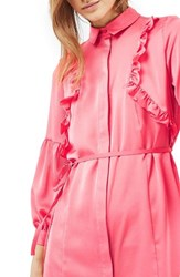 Topshop Women's Ruffle Satin Shirtdress